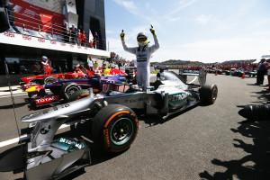 Nico Rosberg gewann einen ereignisreichen Großen Preis von Großbritannien. Foto: Mercedes