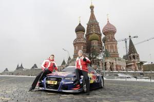 Audi RS 5 DTM vor Rennpremiere in Moskau. Foto: Audi
