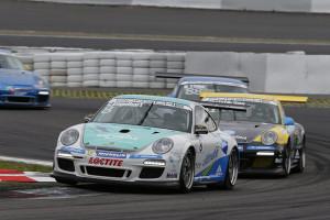 Im Porsche Carrera Cup Deutschland bestieg am Sonntag Christian Engelhart (D/Konrad Motorsport) die höchste Stufe des Siegerpodests. Foto: Porsche